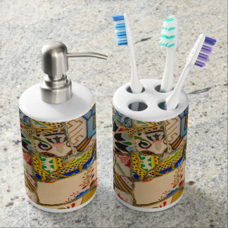 Parc Guell Tiles in Barcelona Spain Soap Dispenser And Toothbrush Holder