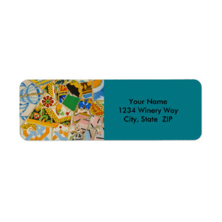 Parc Guell Yellow Ceramic Tiles in Barcelona Spain