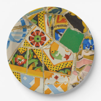 Parc Guell Yellow Ceramic Tiles in Barcelona Spain 9 Inch Paper Plate