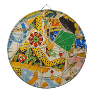 Parc Guell Yellow Ceramic Tiles in Barcelona Spain Dartboard With Darts