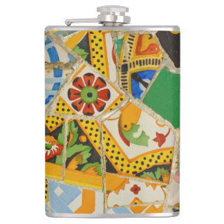 Parc Guell Yellow Ceramic Tiles in Barcelona Spain Hip Flask
