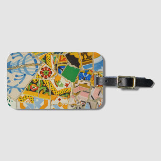 Parc Guell Yellow Ceramic Tiles in Barcelona Spain Luggage Tag