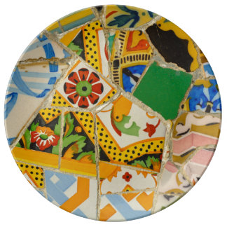 Parc Guell Yellow Ceramic Tiles in Barcelona Spain Porcelain Plates