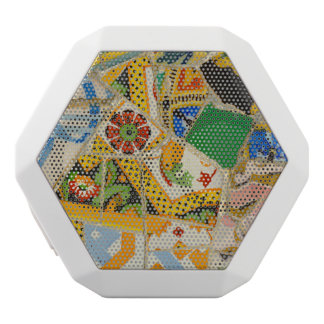 Parc Guell Yellow Ceramic Tiles in Barcelona Spain White Bluetooth Speaker