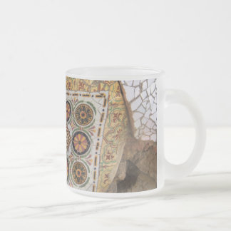 Parc Guell Yellow Mosaic Frosted Glass Coffee Mug