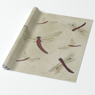 Parchment Dragonflies Wrapping Paper