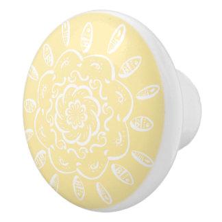 Parchment Mandala Ceramic Knob