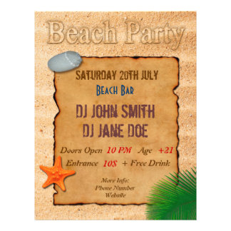 Parchment on Sand - Beach Party Event Flyer