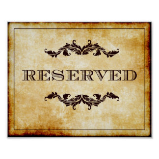 Parchment Reserved Sign Wedding or Party 8x10 Poster