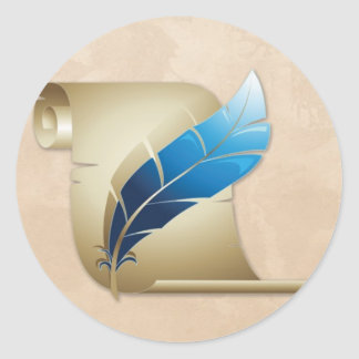 Parchment Scroll and Quill Classic Round Sticker