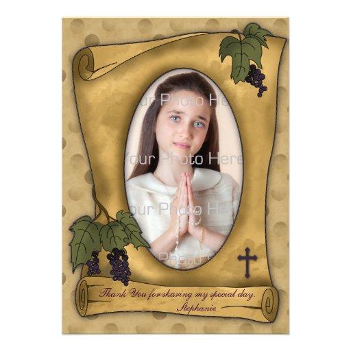Parchment Scroll Tan Religious Photo Thank You Invites