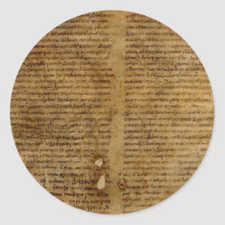 Parchment text with antique writing, old paper classic round sticker