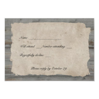 Parchment Wood Rustic Country rsvp with envelopes Invitation