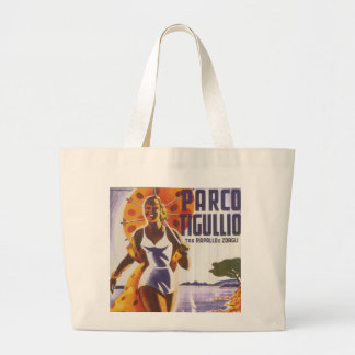 Parco Tigullio Italian Travel Poster Large Tote Bag