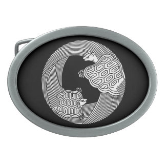 Parent and child turtle oval belt buckles
