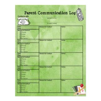 Parent Communication Log Customized Letterhead