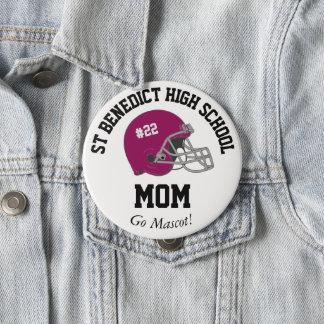 Parent Pride Senior Night Football Maroon Helmet 4 Inch Round Button