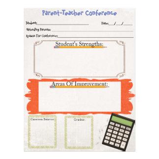Parent-Teacher Conference Organizer Sheet Letterhead Template