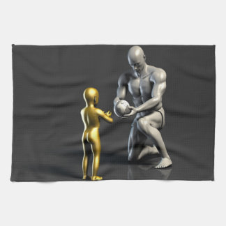 Parent Teaching Child as a Concept in 3D Kitchen Towels