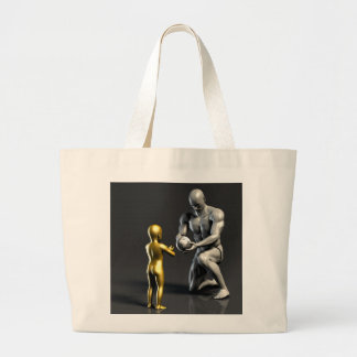 Parent Teaching Child as a Concept in 3D Large Tote Bag