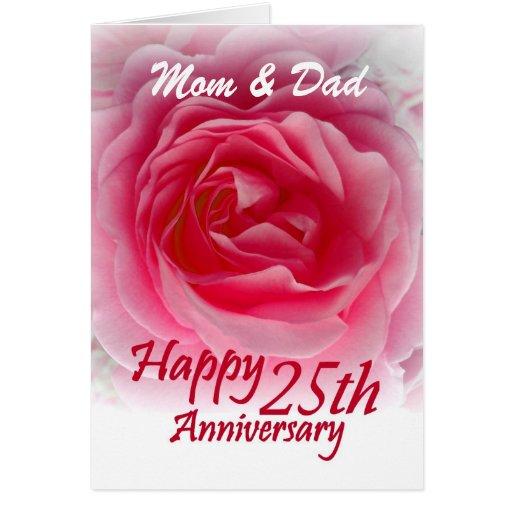 25th Wedding Anniversary Invitation Cards For Parents: 25th Wedding Anniversary With Pink Rose Greeting