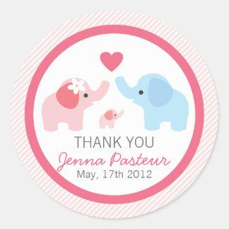Parents et baby shower d'éléphant sticker rond