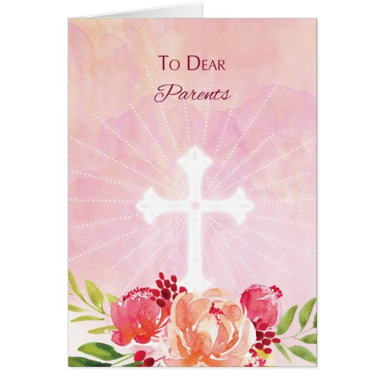 Parents Religious Easter Blessings Watercolor Look Card