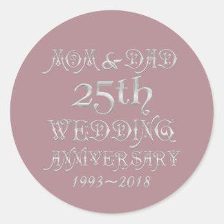Parents Silver Wedding Anniversary 25 Years 2018 Classic Round Sticker