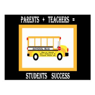 Parents + Teachers = Student Success (Black) Postcard