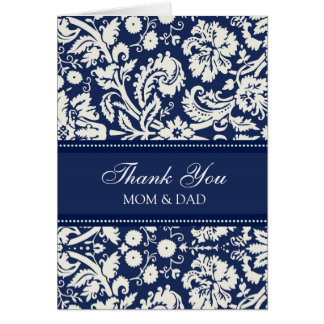 Parents Wedding Day Thank You Coral Blue Damask Card