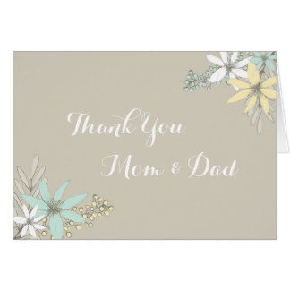 Parents Wedding Day Thank You Rustic Spring Floral Greeting Card