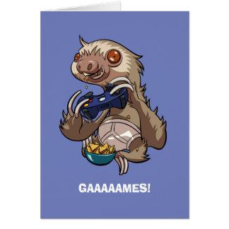 Paresse de Gamer mangeant des Nachos dans la bande Carte De Vœux