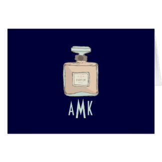 Parfum Bottle Illustration With Monogram Initials Card