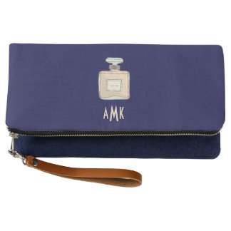 Parfum Bottle Illustration With Monogram Initials Clutch