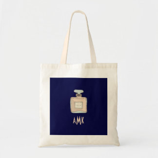 Parfum Bottle Illustration With Monogram Initials Tote Bag