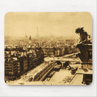 Pari Skyline with Notre Dame Gargoyle Mouse Pad