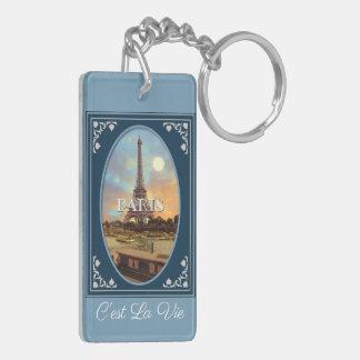 Paris Afternoon Blue Keychain