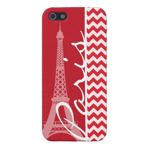 Paris; Alizarin Crimson Chevron Covers For iPhone 5