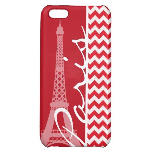 Paris; Alizarin Crimson Chevron iPhone 5C Covers