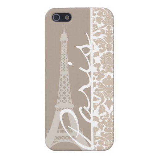 Paris; Almond Color Damask Pattern Covers For iPhone 5