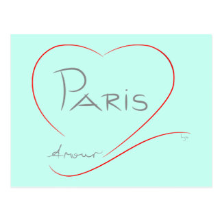 PARIS Amour (heart) Postcard