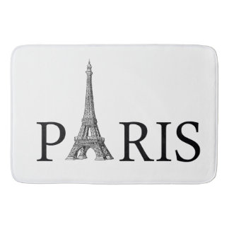 Paris and Eiffel Tower in Black and White Bath Mat