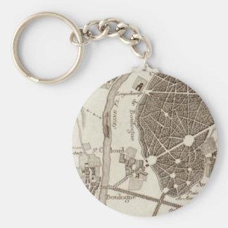 Paris Antique Map Keychain
