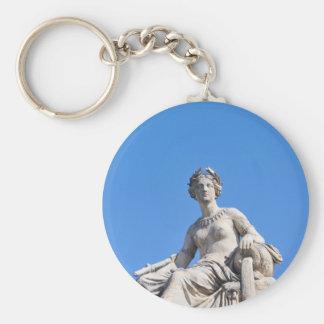 Paris architecture basic round button keychain