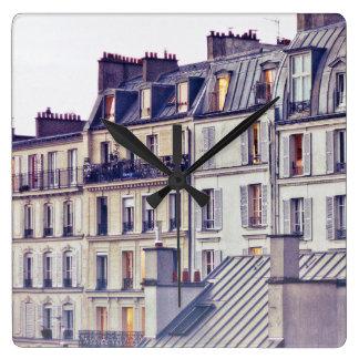 Paris Architecture | Roof Top Building Square Wall Clock