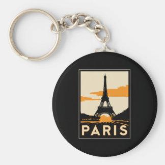 paris art deco retro travel poster keychain