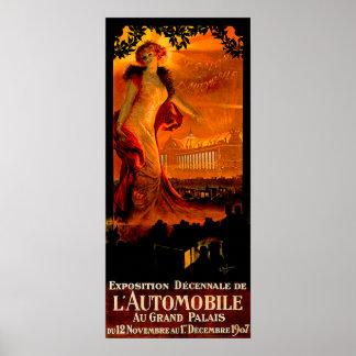 Paris Auto Show 1907 ~ Vintage Automobile Ad Poster