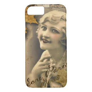 Paris autumn leaves vintage 1920 great gatsby Girl Case-Mate iPhone Case