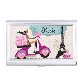 Paris Bakery Eiffel Tower Travel Monogram Cupcake Business Card Holder