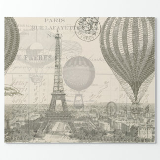 Paris Balloon Voyage Wrapping Paper
